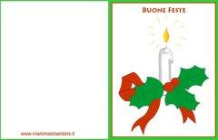 Biglietto Natale candela con frasi auguri