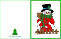 Frasi e biglietto auguri Natale con pupazzo neve