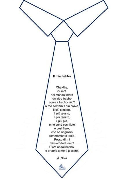 Festa del papà: poesia Il mio babbo scritta dentro la cravatta in poesie preghiere e testi lavoretti e addobbi festa del papa