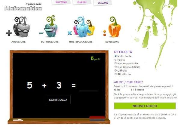 Il parco della matematica: operazioni online. in matematica