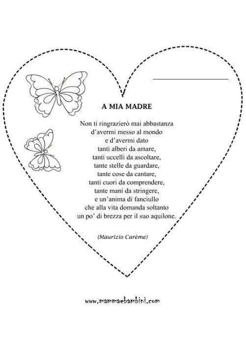 Cuore da colorare per la Festa della mamma con poesia in poesie preghiere e testi lavoretti e addobbi festa d mamma
