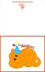 Biglietto auguri compleanno: gatto arancione