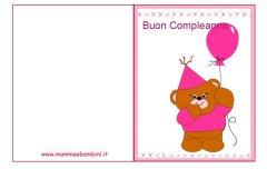 Biglietti compleanno da stampare: orso rosa