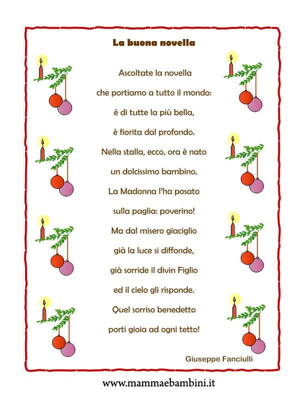 """Poesia Natale con cornice """"La buona novella"""" - Mamma e Bambini"""