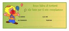 Biglietti invito compleanno: clown con tre palloncini
