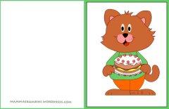 Biglietti auguri compleanno: gatto con torta