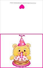 Biglietti auguri compleanno: torta con una candelina rosa