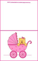 Biglietto per battesimo e nascita: carrozzina rosa