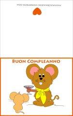 Biglietti auguri compleanno:topolini che brindano