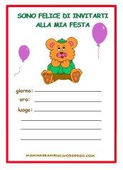Biglietti invito compleanno: orsetto con maglia verde