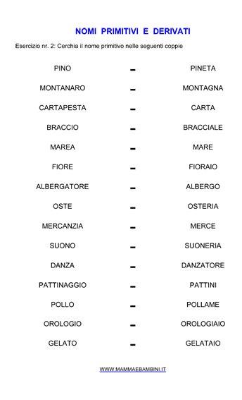 Nomi primitivi e derivati n.2, esercizi da stampare in italiano