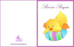 Biglietto auguri Pasqua: pulcino con uovo