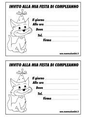 Biglietti invito compleanno con gatto