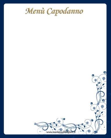 Foglio Menù per Capodanno da stampare in natale fantasia in tavola