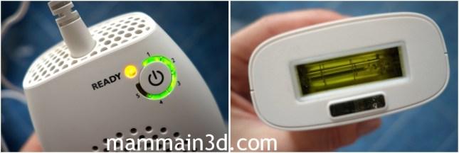 Philips Lumea Comfort particolari: regolazione intensità e lampada