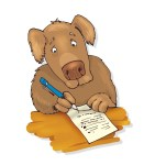 humorous illustration of dog writing a letter