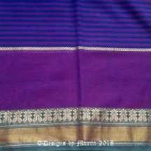 Purple Blue Handwoven Sari Fabric