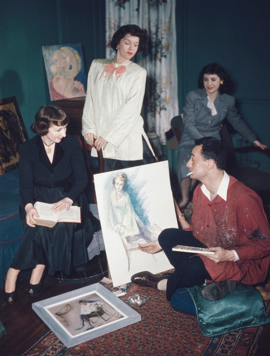 Fashion painting of models. 52nd Street New York, N.Y., ca. 1948. William P. Gottlieb. Public domain.