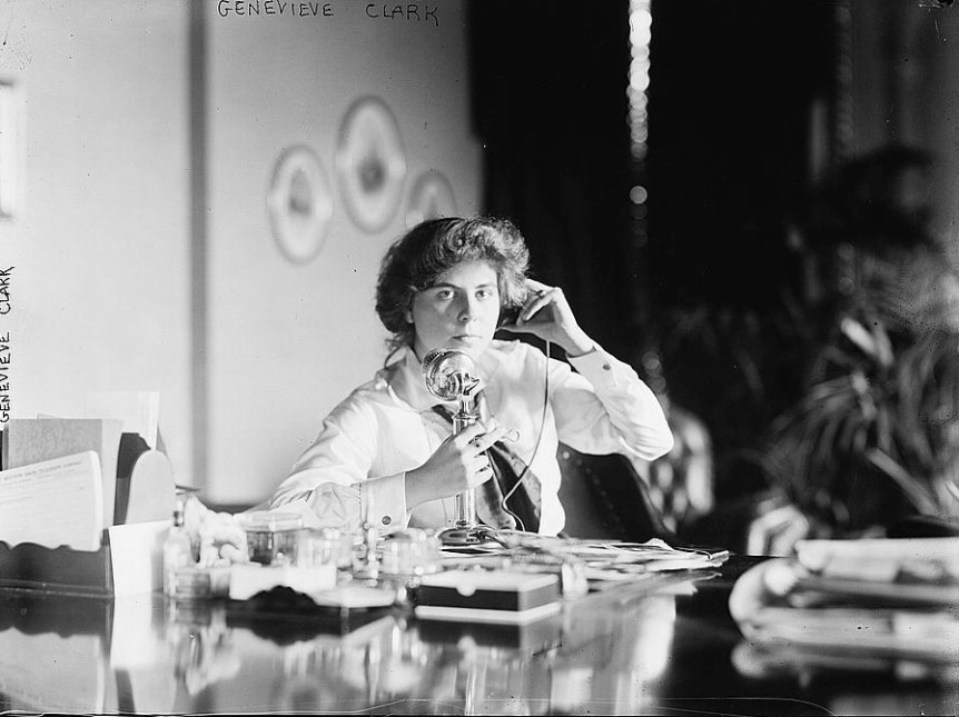 Genevieve Clark on telephone, circa 1910.