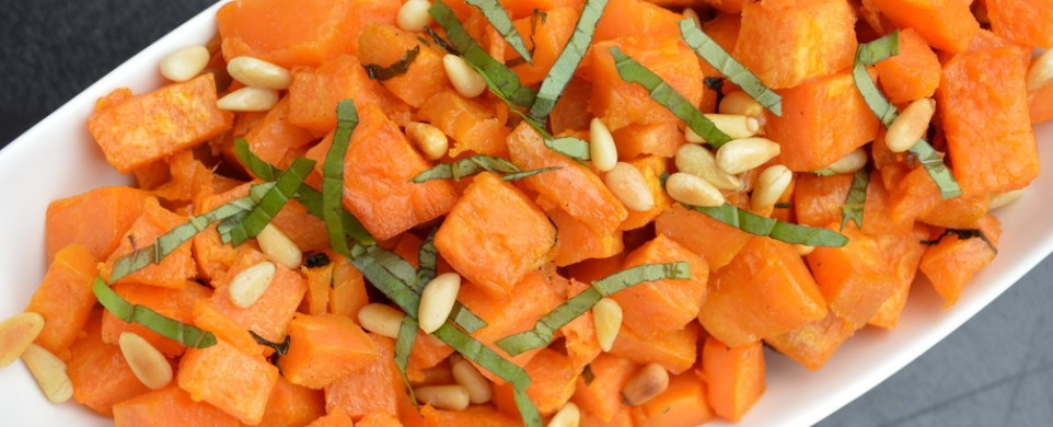 Roasted Basil Sweet Potatoes with Pine Nuts