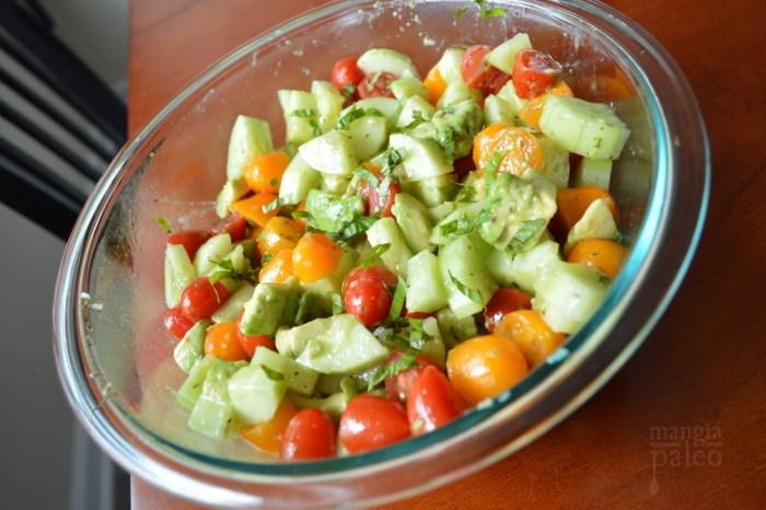 Tomato Avocado Cucumber Salad paleo italian recipe