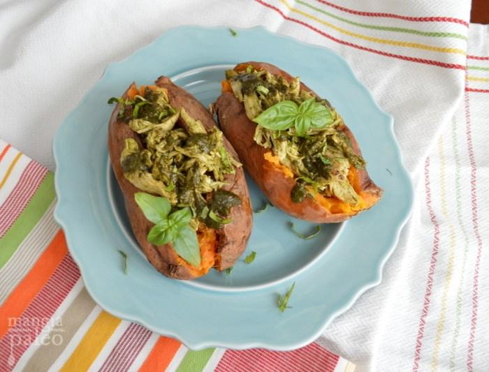 paleo pesto stuffed sweet potato