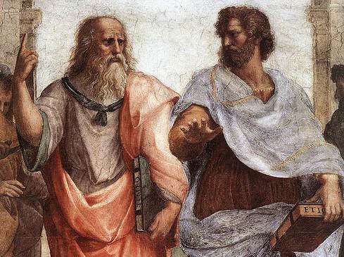 Platon og Aristoteles diskuterer i Raphaels berømte bilde.