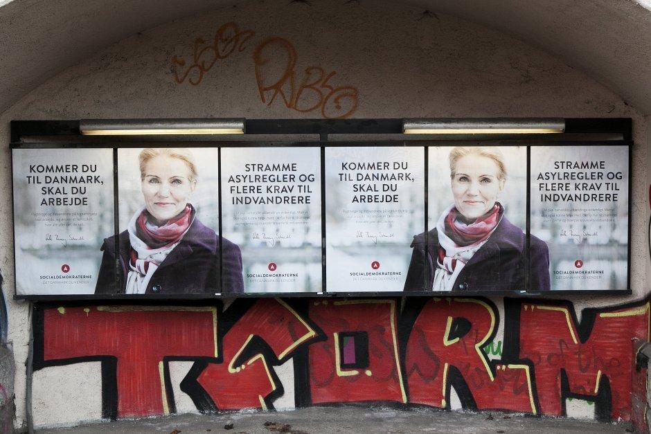 Valgplakater for Socialdemokratene. Foto: Anders Pedersen/Monsun