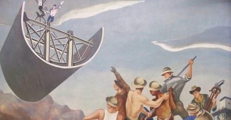 Kunst fra den amerikanske populismens høyalder: «Construction of a dam» av William Gropper fra 1939.
