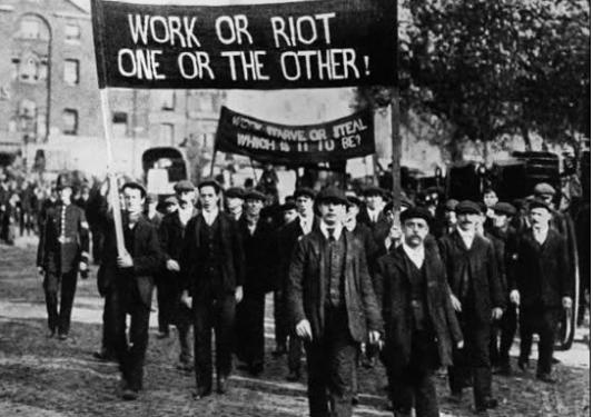 Demonstrasjon under depresjonstiden i USA. Foto: Hulton archive