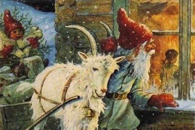 """Eit julevindauge er ei slags julelupe som gjer at alt vert større. Både gleder og sorger – for dei som er inne – og for dei som står utanfor å ser inn, skriv Kristian Fjellanger. Her er """"Jultomten"""" av den svenske illustratøren Jenny Nyström."""