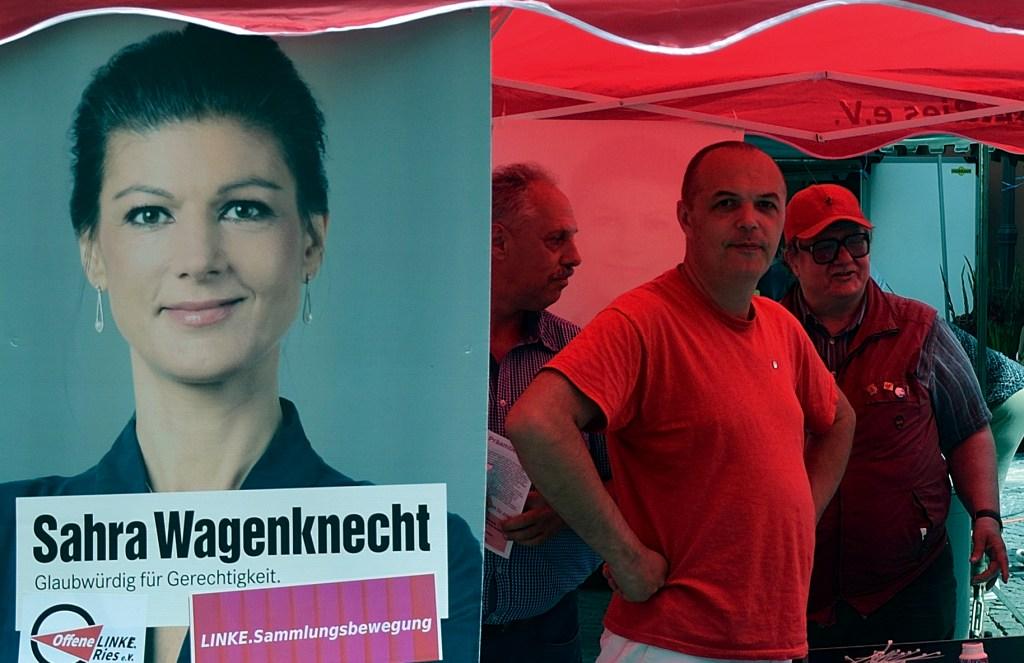 Kampanje for den nye samlingsbevegelsen til Sarah Wagenknecht og ektemannen Oscar Lafontaine i byen Nördlingen den 14. juli i år. Foto: zuse24/ Flickr