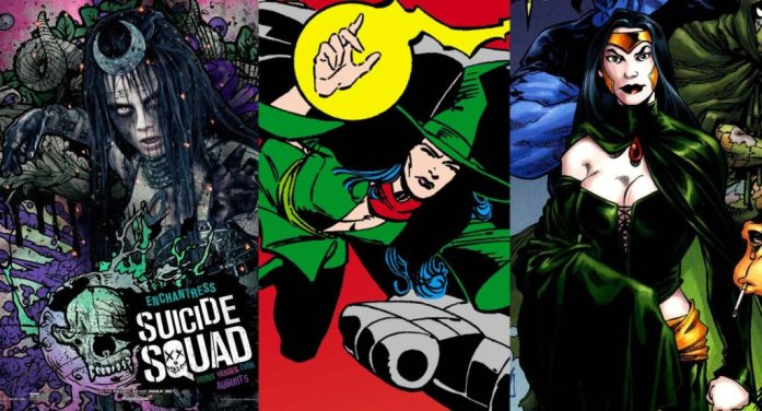 (L to R): Cara Delevingne as Enchantress in 'Suicide Squad' movie (2016), the Enchantress in the cover of Suicide Squad comics (June 1987), and Shadowpact (July 2006).