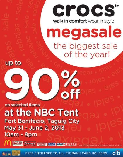 Crocs Megasale @ NBC Tent May - June 2013