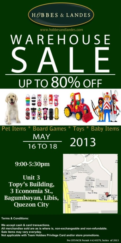 Hobbes & Landes Warehouse Sale May 2013