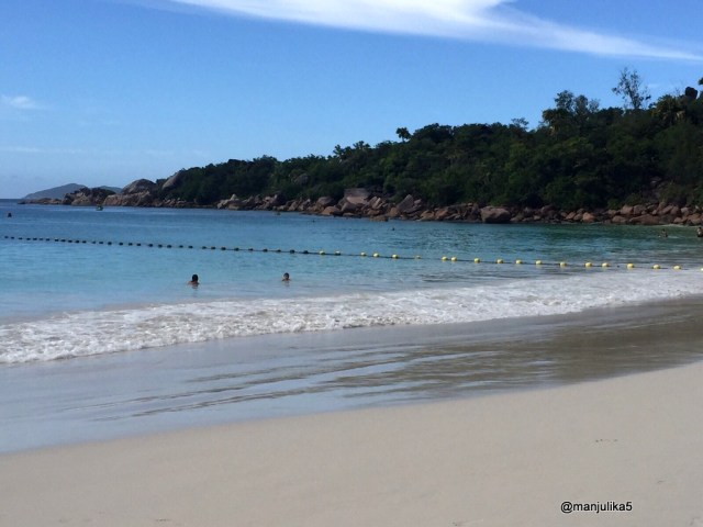 Seychelles has white sandy beaches