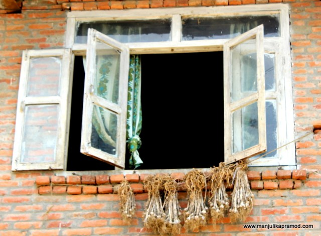 The dried corns hanging outside the window in Panauti township in Nepal