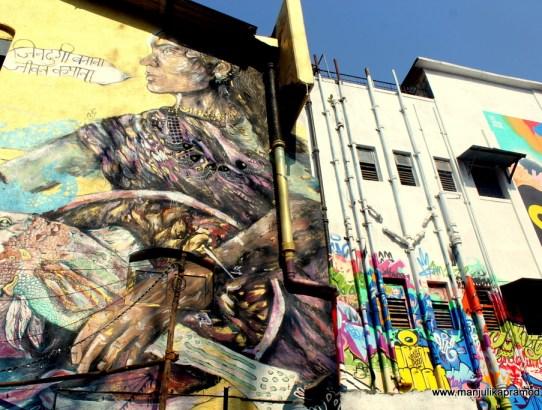 Fascinating Wall Art at Fishing District of Sassoon Docks, Colaba