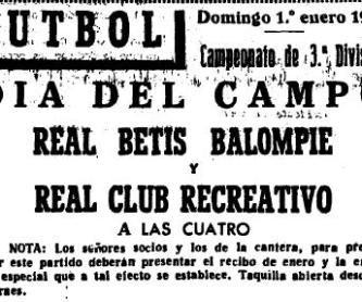 Anuncio Recreativo-Betis Liga 1950