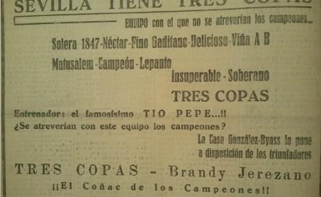 Publicidad Brandy Tres Copas 1935