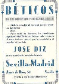Los valores del Betis. Publicidad 1935