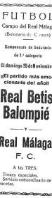 Málaga-Betis Campeonato de Andalucía 1928
