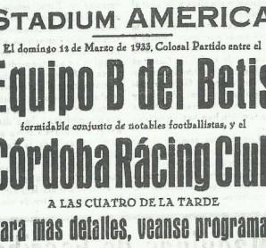 1933-Marzo 12-Amistoso.-Córdoba Racing Club-2 Betis Balompié-Reserva-3.-83Aniversario.