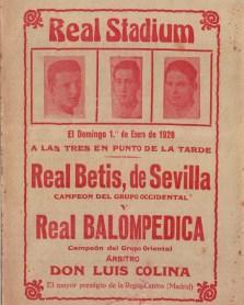 Anuncio Balompédica Linense-Betis Campeonato Andalucía 1928