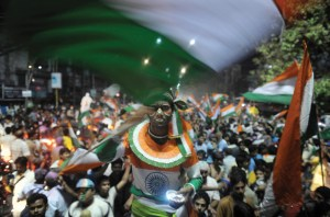 Fans celebrate Indias win in the final