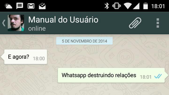 Notificação de mensagem lida no WhatsApp.