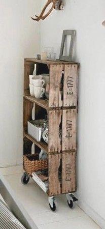 Ideas para hacer estanterías de madera con cajas de verduras