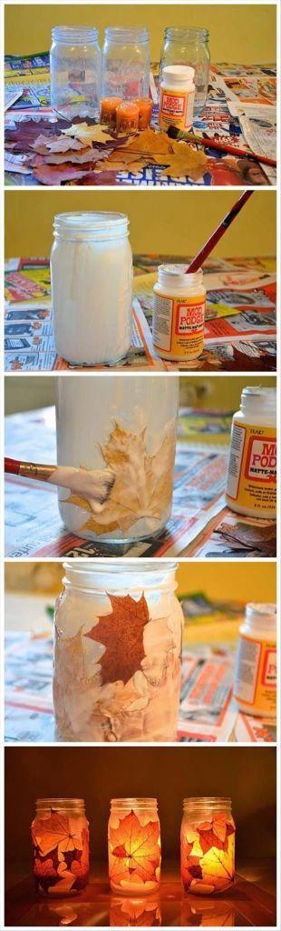 Reutilizar hojas de otoño para decorar tarros con decoupage
