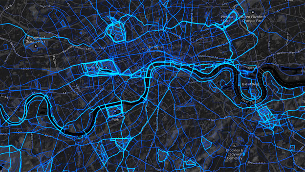 Strava running data map