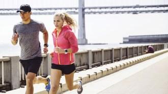 Urban couple running
